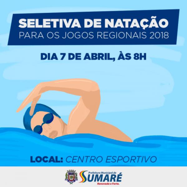 Sumaré realiza seletiva de Natação para os Jogos Regionais neste sábado, dia 7