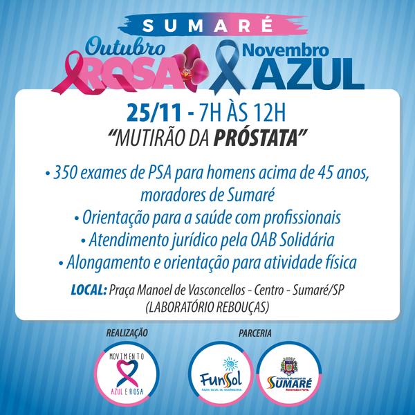 """ea0caecb6 Novembro Azul: Sumaré terá atividades neste sábado e """"Mutirão da Próstata""""  no domingo"""