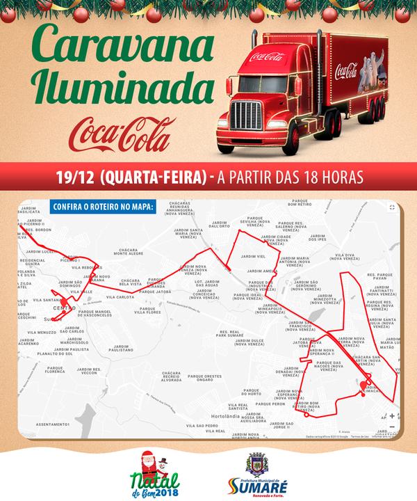 Sumaré recebe Caravana Iluminada da Coca-Cola nesta quarta-feira, dia 19